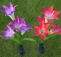Wholesale Solar Led Lamp Lily - Solar LED Lily Flower Light Color Changing Energy Saving Lamps Outdoor Garden Path Yard Decoration 3 LED Flower Party Lamp