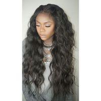 ingrosso ondeggiando capelli donna nera-Parrucche glueless anteriori del pizzo dei capelli umani per le donne nere Linea sottile naturale peruviana Wave Wave Parrucche piene del pizzo 150% di densità