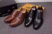 Wholesale H Shoes Men - Brand Designer h high quality Men's cow leather carving brogue lacing formal suit business office dress wedding shoe,Black,38-44