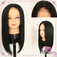 Wholesale Black Medium Length Wig - Cheap Straight Synthetic Lace Front Wig Fashion Lady's Short BOB Straight Party Wig Heat Resistant Synthtic Wigs
