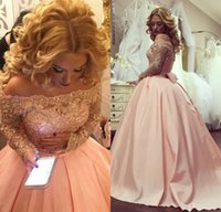 Wholesale Quinceanera Dresses Sleeves - 2017 New Pink Vintage Quinceanera Ball Gown Dresses Off Shoulder Lace Crystal Beaded Long Sleeves Sweet 16 Sashes Bow Party Dress Prom Gowns