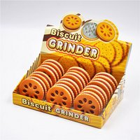 Wholesale Hand Cookies - DHL 57mm Funny Herb Grinder Cookie Tobacco Grinder Crusher Spiece Smoking Machine with 2 Layer Herb Crusher Hand Magnetic Muller