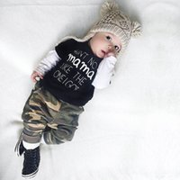 Wholesale Tracksuits Tshirts Boys Sets - 2017 Boys Baby Childrens Clothing Sets Summer Long Sleeve Letters tshirts Camouflage Pants 2Pcs Set Cotton Toddler Tracksuits Infant Clothes
