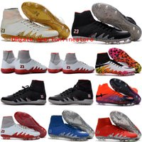 Wholesale Cheap Gold Ankle Boots - 2017 Nj X ankle high soccer cleats hypervenom phantom ii FG soccer shoes mens neymar football boots cleats boots football shoes Cheap Orange