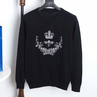 Wholesale Crochet Pattern Long Sweater - Autumn and winter new men sweaters embroidery crown bee flowers pattern fashion luxury brand knitted sweater