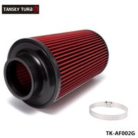 Wholesale Tansky quot Universal Chrome Inlet Long Ram Cold Intake Round Cone Air Filter Red Type TK AF002G