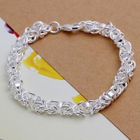 Wholesale Thick Bangle Bracelets - H073 XMAS Wholesale fine 925 sterling silver bracelet bangle jewelry,2017 hot Piercing new 925 silver jewelry thick chain link bracelet