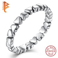 Wholesale Unique Stackable Rings - BELAWANG Unique Stackable FOREVER LOVE Heart Finger Ring Wholesale Authentic 925 Sterling Silver Rings Wedding Elegant Jewelry
