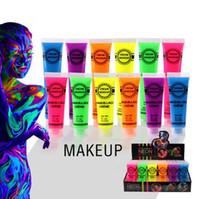 tintas de corpo uv venda por atacado-IMAGIC Néon UV Brilhante Rosto Corpo Pintura Fluorescente Rave Festival Pintura 13 ml Dia Das Bruxas Profissional Pintura Beleza Maquiagem CCA7530 120 pcs