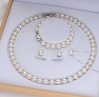 Wholesale south sea pearl pendant white for sale - Group buy Nice Natural mm White South Seas Pearl Necklace Bracelet Earrings Pendant Necklace Four Pieces Silver