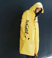 Wholesale Yellow Rain Coat - Vetements Polizei Man Jackets Hooded Rain Coat Water-proof Sun Protection Trench Casual Hi-Street Fashion Brand Men Clothing