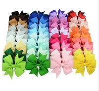 Wholesale Christmas Grosgrain Ribbons - Christmas Kids Girls Hair Bow Grosgrain Ribbon Hair Clips Holiday Gift For Children Hair Accessories 40 Color 40pcs lot