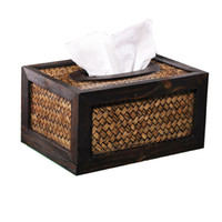 Wholesale Crafts Tissue Boxes - Wholesale- Hand made Crafted Bamboo Weaved Wood Frame Toilet Paper Holder Tissue Box Car Covers Towels Case Household Bathroom Accessories