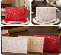 Wholesale Wedding Thanks Cards - Hot selling Wholesale Personalized Wedding Invitation Cards, thank you cards pink gold white red color wed invites with modern designs