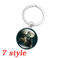 Wholesale Glass Dome Rings - 7 style Fashion Silver Color Key Chain Howling Wolf and Moon Art Glass Dome Pendant Keychain Key Ring for Women Jewelry Gift