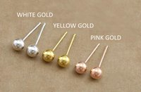 Fashion Classical cute 18K Gold Ball Bean Stud Studs Ladies Exquisite Ear studs Damas amarillo Pendientes 3 mm
