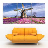 art de toile de tulipe achat en gros de-3 Panneau Imprimé Moderne Toile mur Art Moulins à vent et Tulipes Paysage Peinture Fleur Paysage Image pour la décoration de la maison Salon