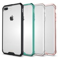 Wholesale Wholesale Champagne Cases - Armor Case For Transparent Hybrid Cases Ultra Thin TPU PC Back Cover Case For iPhone 7 Plus Case Opp Bag