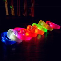 Wholesale Luminous Wristbands - Music Activated Sound Control Led Flashing Bracelet Light Up Bangle Wristband Club Party Bar Cheer Luminous Hand Ring Glow Stick 3003182