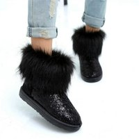 Wholesale Girls Silver Heels - New Women's Imitation fox fur boots waterproof snow boots warm thick crust of snow boots with fur Glitter Girls
