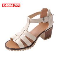 Wholesale Middle Heel Fashion Shoes - Wholesale-2016 Summer Hot Selling Chunky Middle Heels Wild Buckle Gladiator Sandals Fashion Open Toe Bandage Women Shoes Big Size 34-43