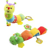 Wholesale- Musical Light Flash stuff Caterpillar avec Ring Bell Cute Cartoon Animal Plush creative Doll Early Education cadeau doux Jouets pour bébés