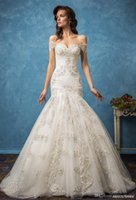 Wholesale Sweetheart Beaded Neckline Short Dress - mermaid wedding dresses 2017 amelia sposa bridal gowns lace applqiues beaded off the shoulder sweetheart neckline fit and flare royal train