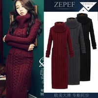 Wholesale Nobles Sweater - Wholesale- 2016 European winter wool knitting female thickening noble temperament self-cultivation long bottom Sweaters