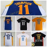 Wholesale Chinese Roads - New 11 Klay Thompson Shirt Uniform Rev 30 Christmas Chinese Klay Thompson Jersey Home Road Blue White with sleeve Black