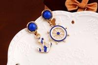 boucles d'oreilles bleu marine achat en gros de-Goujons d'ancre bleu marine et blanc de style gland Texture claire de mode Goujon d'oreille de gouvernail et d'ancre