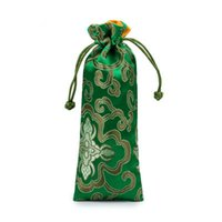 Wholesale Rich Jewelry - Lengthen Rich Flower Silk Brocade Pouch with Lined Drawstring Jewelry Necklace Gift Bags Wooden Comb Trinket Storage Pocket 7x19 cm
