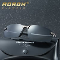 Shades Driving Sunglasses para Hombres Diseñador Aviator Sunglass Retro Pilot Polarized Lens Mens Gafas de sol Frameless Luxury Brand UV400 Barato