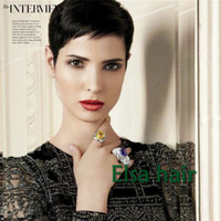 Wholesale cheap celebrity hair online - Celebrity Cheap Pixie Cut Human indian Hair Very Short Wig Natural Black Human None Lace Glueless Wig For Black Women Wigs