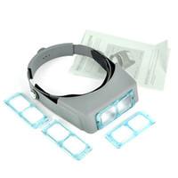 binoculares lupa al por mayor-4 lente venda principal de la venda principal de la lámpara lupa binocular Optivisor Auriculares Luz Conjunto 4x con luz Lupa Lupa Ojo reloj de soldadura de reparación