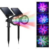 çok spot toptan satış-Açık Güneş Spotlight Çok Renkli 4 LED Ayarlanabilir Peyzaj Alev Aydınlatma Açık Bahçe Süslemeleri için Su Geçirmez Güneş Duvar Işık