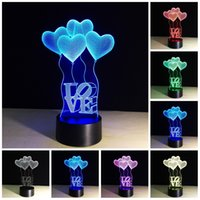 Wholesale Love Beautiful Baby - Free Shipping 3D Love Balloons Light 7 Color Changing Lights with Acrylic Flat & ABS Base & USB Charger Beautiful Gift for baby