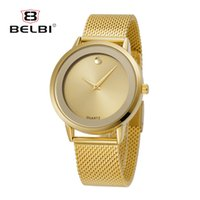 Wholesale Cheap Glass Tops - Hot Business Men's Watches Fashion Simple Gold Male Wristwatches Cheap Stainless Steel Watchstrap Analog You Worth Top Watch Brand BELBI
