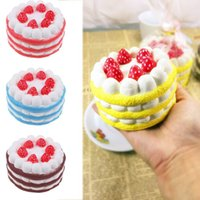Wholesale Cheap Toys Free Shipping - 1pcs lot 12cm Cheap Kawaii Strawberry Cake Squishy Slow Rising Cream Cake Mango Yellow Rosy Blue Kids New Year Toy Gift free ship