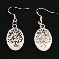 Wholesale Family Earrings - Oval Family Tree Earrings 925 Silver Fish Ear Hook 30pairs lot Antique Silver Chandelier E203 41.5x14.9mm