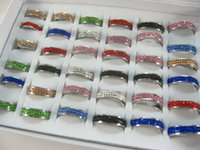 Wholesale Display Rows - 36 pcs  lot double rows mixed colorful zircon stainless steel wedding rings fashion ring lovers ring in display box