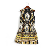 Wholesale Embroidery Baroque - The new Europe and the United States women's 2017 spring The baroque Notre Dame sleeveless a-line dress