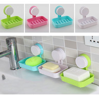 Wholesale Travel Cup Holder Tray - Plastic Suction Cup Holder Bathroom Shower Soap Dish Home Hotel Travel Soap Dish tray Wall Holder Storage Box