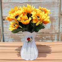 Wholesale Silk Flowers Online - Sunflowers Simulation Artificial Display Flower Silk Cloth Material Yellow Home Party Flowers Plant Decoration Online Hot Selling