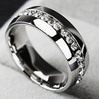 Wholesale Single Band - I pc New Single row zircon CZ ring Stainless Steel finger rings women jewelry wholesale classical