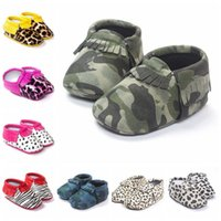 Wholesale Toddlers Leather Sandals - Baby Tassels First Walkers Shoes Newborn Fashion Moccasin Kids Soft PU Leather Shoes Toddlers Camouflage Sandals Girls Fringe Shoes F342