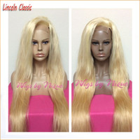 Wholesale 12 Lace Wigs - Brazilian High Quality 613 Blonde Full Lace Wig Glueless Lace Front Wig natural silky straight Human Hair Wigs With free parting Freeship