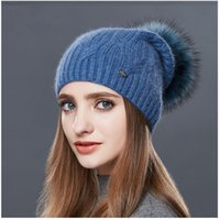 Wholesale Types Beanies Hats - LUCKYFUR High Quality Cashmere Women Winter Hats Fashion Link Type Knitted Hat Female Girl Autumn Fur Fur Pompoms Beanies 2017