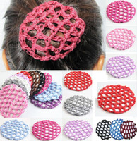 Pain À Cheveux De Danse Pas Cher-20 pcs / lot Bun Cover Snood Hair Net Ballet Danse Patinage Crochet Beautiful Pony Tails Holder 9 couleurs en gros
