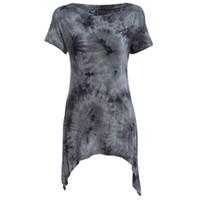 Wholesale Ladies Asymmetric Dress - Wholesale- 2016 Summer Casual Tops Tees Ladies Short Sleeve T Shirt Women Ombre Asymmetric Long T-Shirt Dress Cotton Female Clothes
