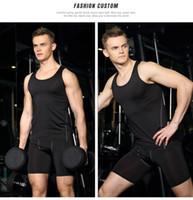 Wholesale Tight Shorts Leggings - New Black And Grey Sportwear Mens compression Short pants sports running tights basketball gym pants bodybuilding joggers skinny leggings